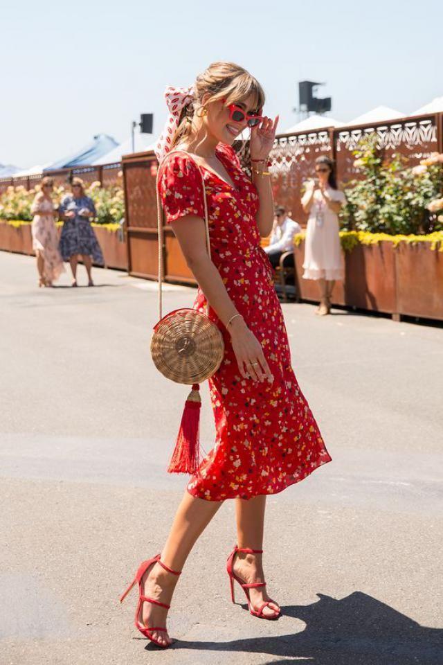 Tiny Floral Midi Wrap Dress