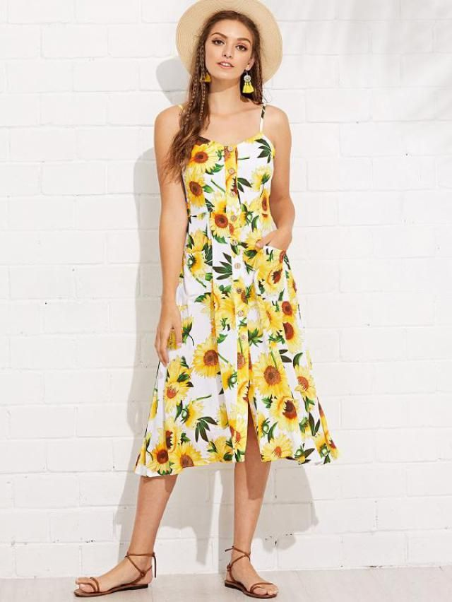 Sunflower Print Dress