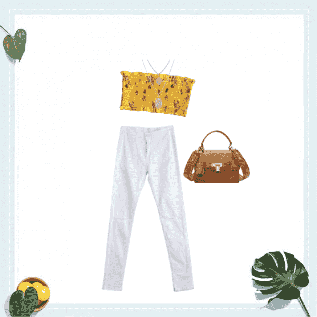 Summery yellow top, with trending white pants and a cute purse for convenience