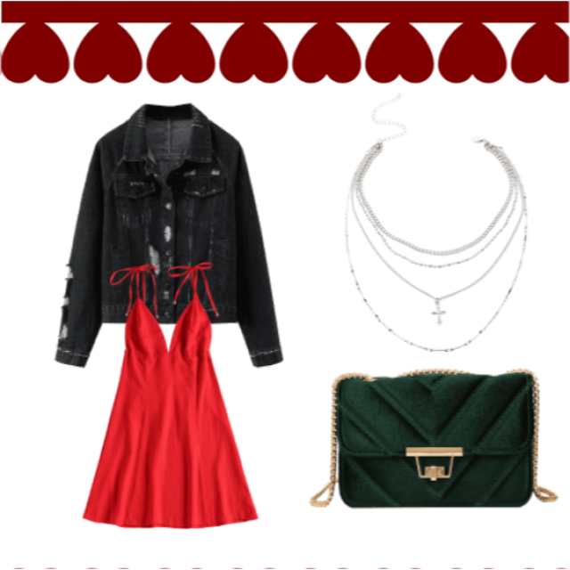 Playful valentines day outfit. Classy and rocker Chic. Pair with white runners for a cool casual vibe. Or a strappy bla…