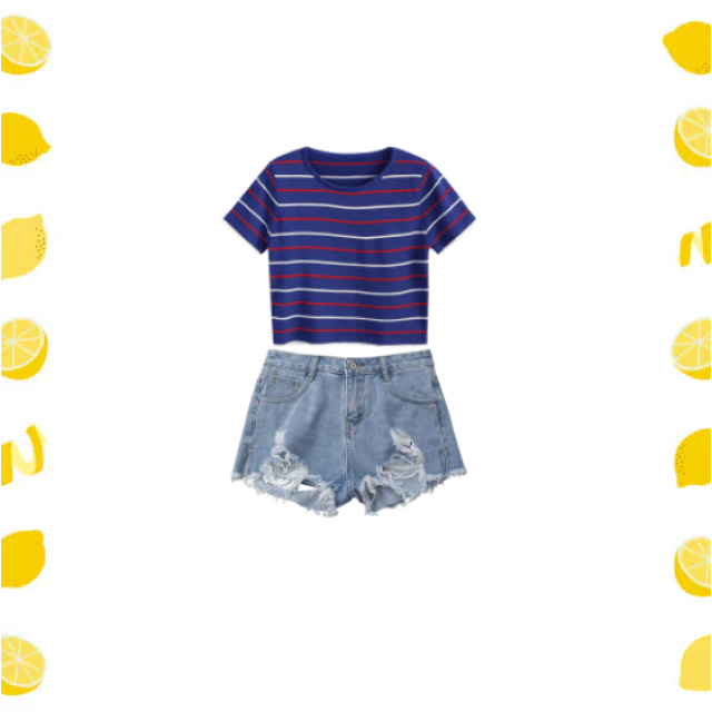 In this outfit, it was inspired by like a summer festival. You have a navy blue crop top with red and white stripes, th…