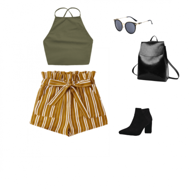 yellow and white striped shorts with an olive green halter, paired with cute black booties, a leather backpack, and …