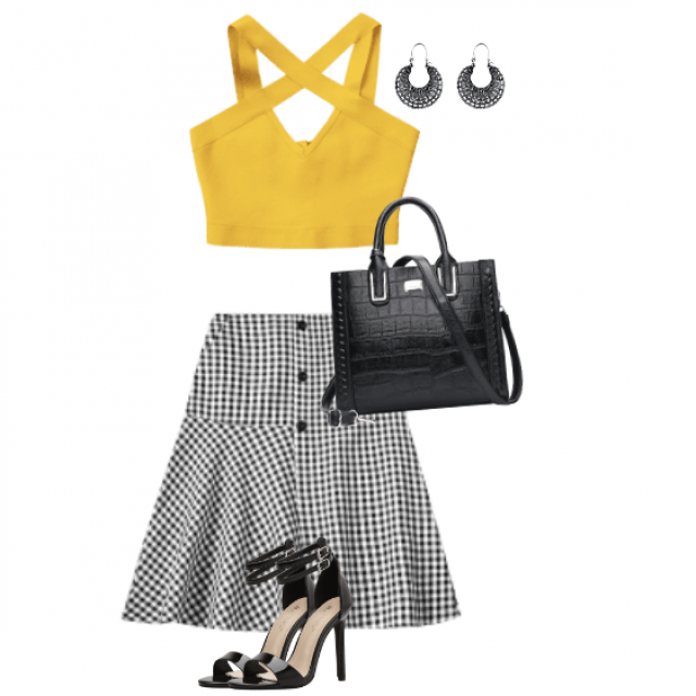 Beautiful and stylish combo with a yellow pretty top and black and white skirt