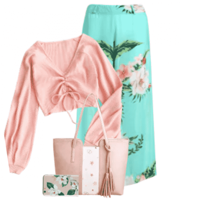 Beautiful summery look with a top and pants with flowerprint