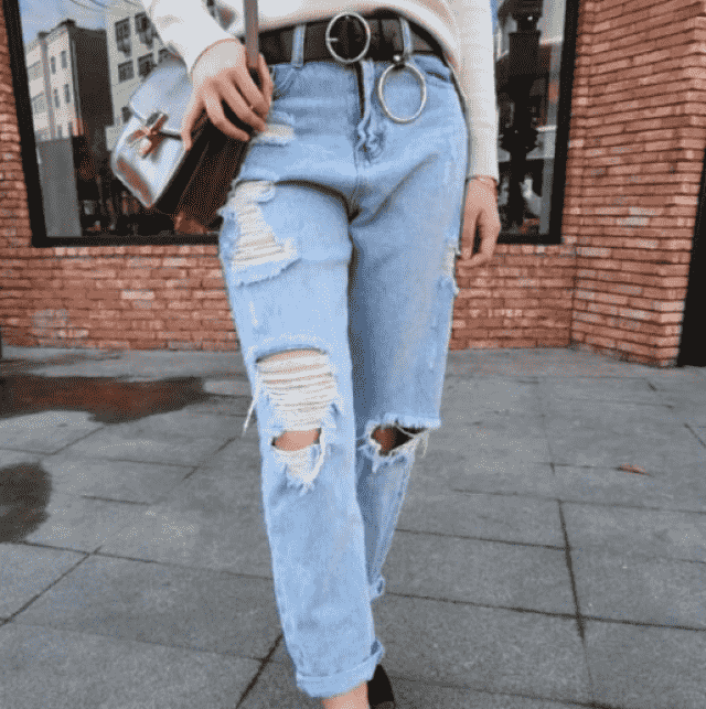 Feeling sexy wearing boyfriend jeans