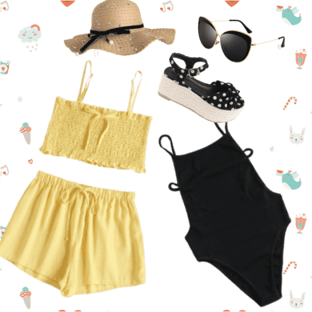 Cute yellow and black summer outfit, ready to jump into the water.