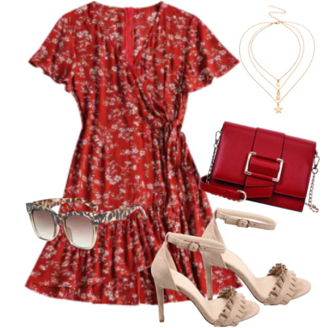 A red dress for summer with sandals