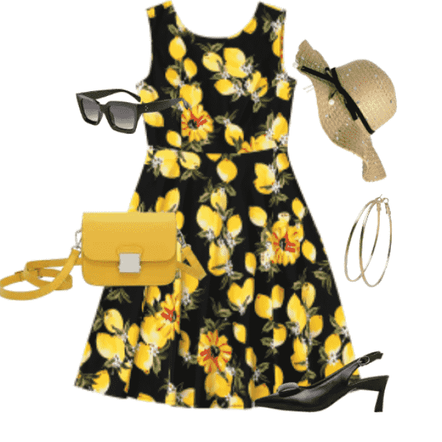 Cute summer print dress for daily and going out     jewelry