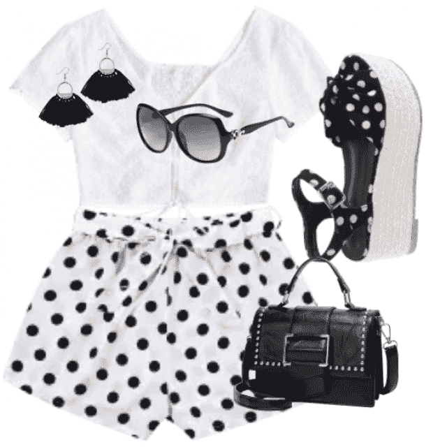 Cute a dot shorts and white top super combination
