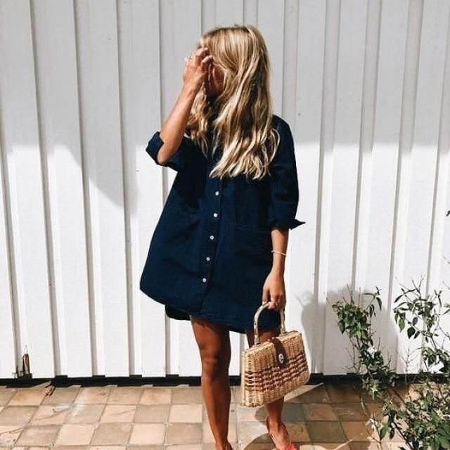 Casual blue shirt dress ....look simpe but chic in the same time