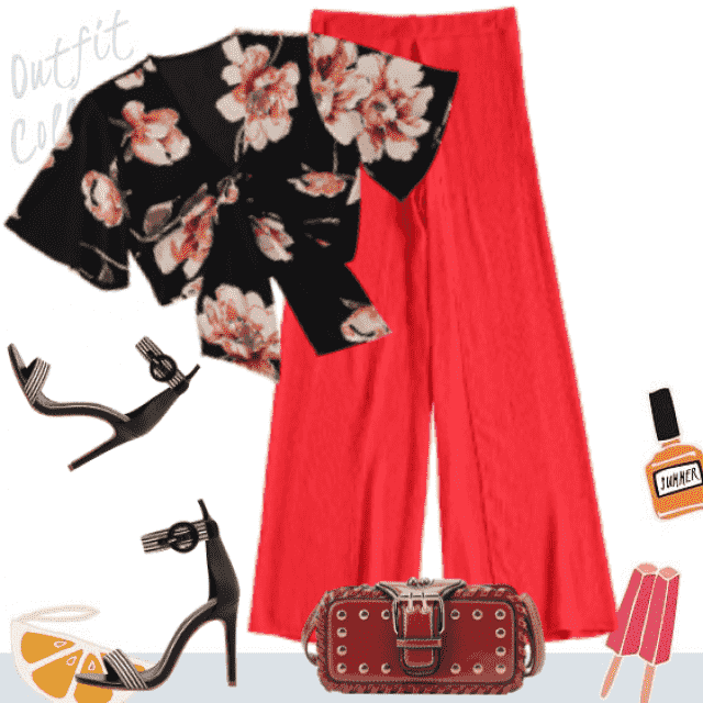 Floral top, red and black, summer style...