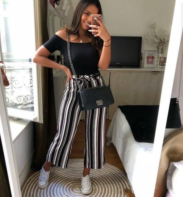 Striped pants and black shoulder top