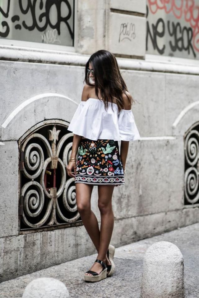 Mini Floral Embroidered Flare Skirt  and Off the Shoulder Blouse  <3         shoulder