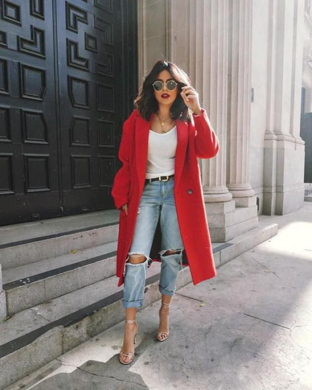 What about this look ....strong red coat ,denim pants and white top