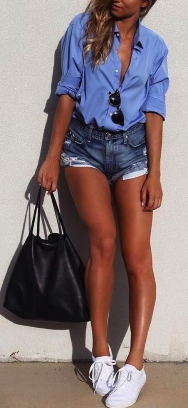 Denim blue shorts with casual blue shirt