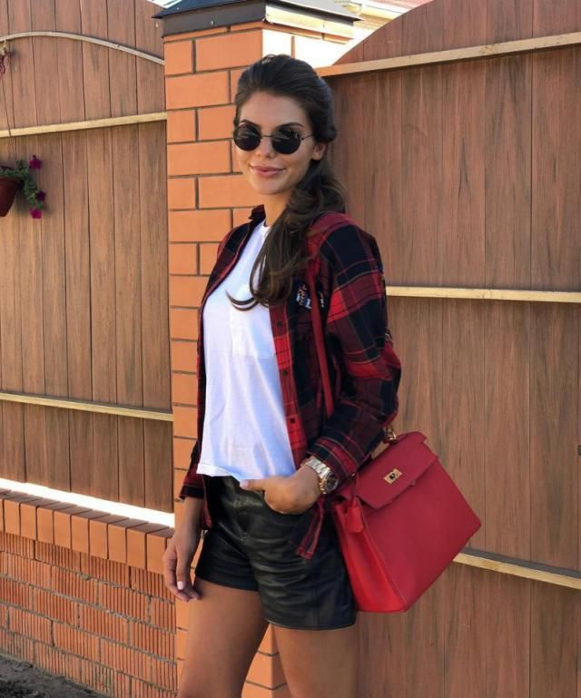 For a casual day out with friends pair your favorite plaid blouse with a white tshirt and faux leather shorts for a sty…