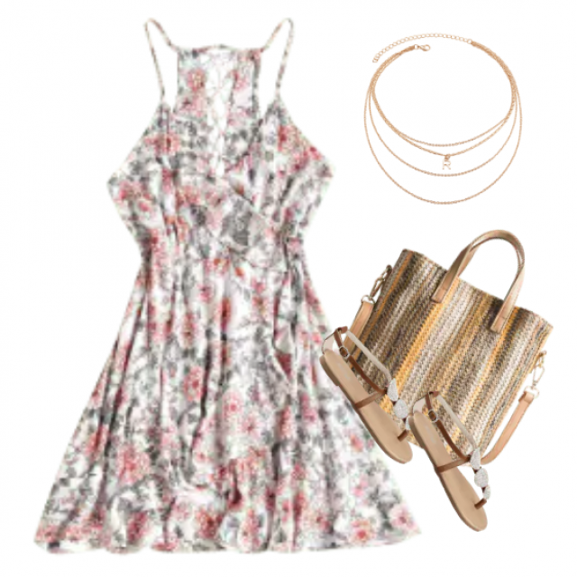 A cute dress with sandals and a purse