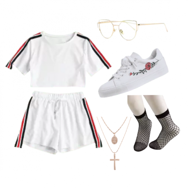 Black and Red stripe on White: 2 piece, Gold rim glasses, Rose embroidery white sneakers, Gold cross and oval chains, B…