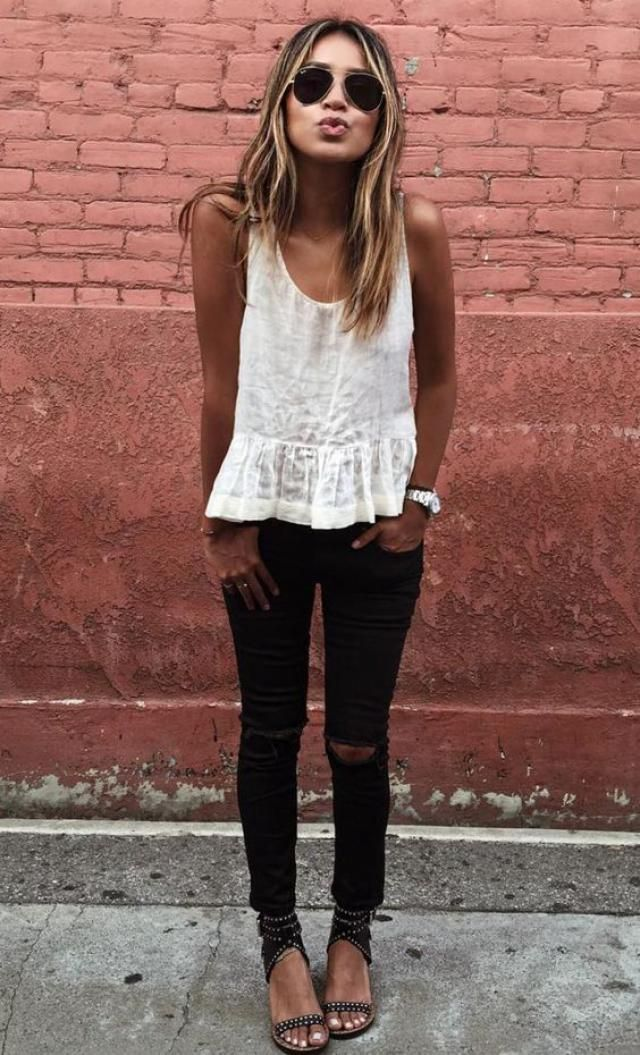 Black pants and white top .....always trendy and chic