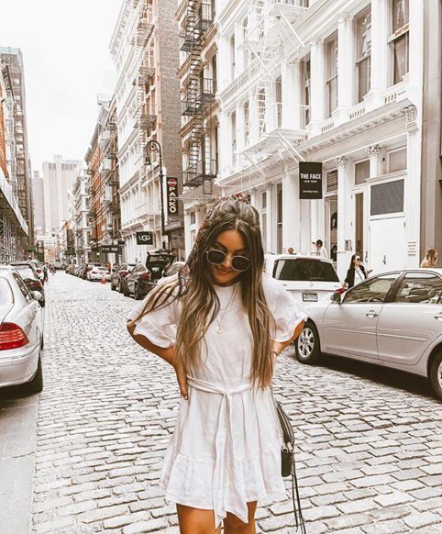 Belted Mini Dress White