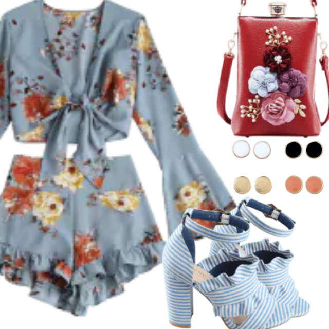 This vivid floral print matching set includes a tie front crop top with belled sleeves and a pair of high rise hotpants…
