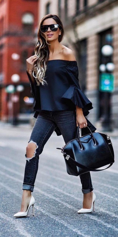 Flare Sleeve Off Shoulder Blouse and Jeans / / / L O V E / / /