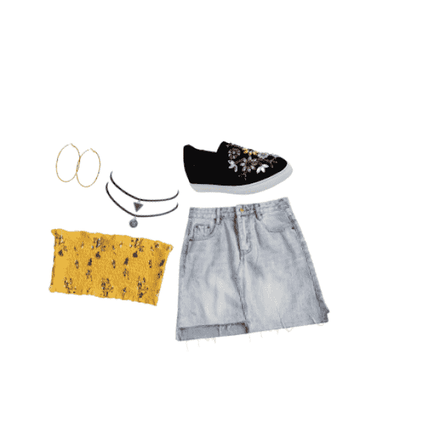 Yellow floral sleeveless Cami top, light denim skirt, circle and triangle chokers, gold hoop ear rings, Black floral em…