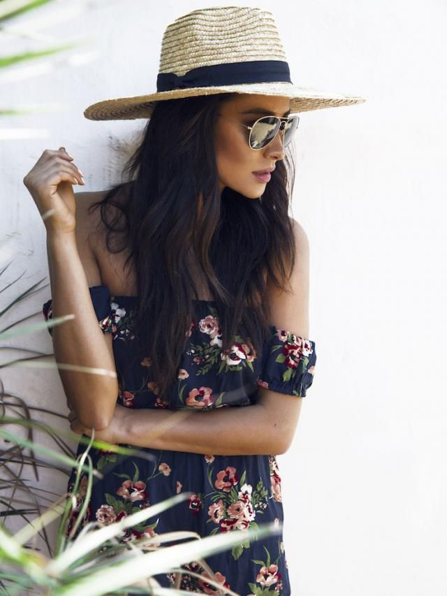 Floral dress with hat