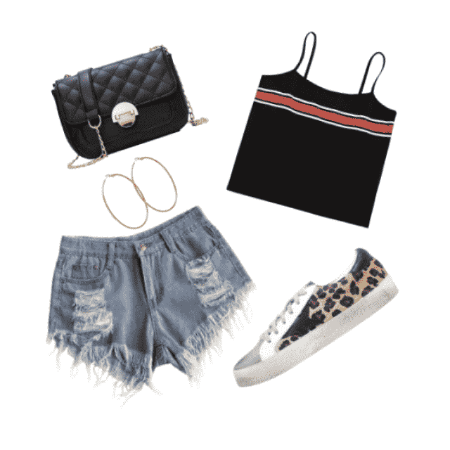 Black over the shoulder purse, Gold hoops, ripped Blue jean shorts, Black striped cami top, cheetah print sneakers,   …