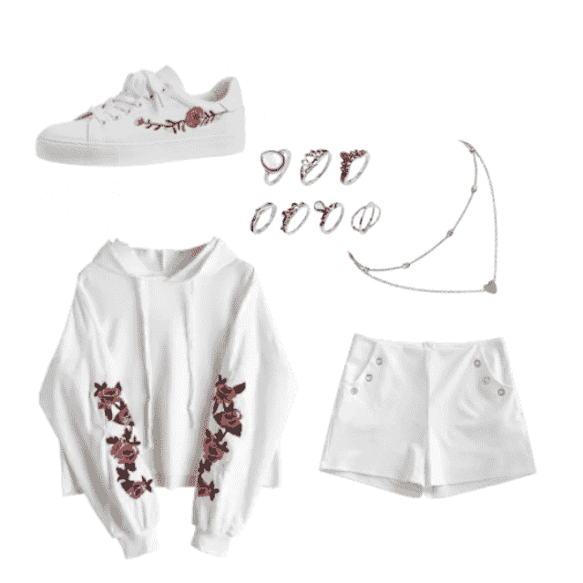 White Rose embroidered sneakers, multiple silver rings, gold heart necklace, white rose embroidered hoodie, white short…