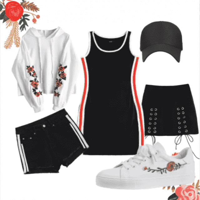 simple red black and white with floral accents, comfort and style.