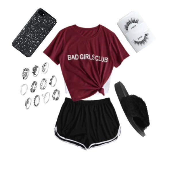 "black speckled iPhone case, ""BAD GIRLS CLUB"" burgundy tied t-shirt, false lashes, fury slides, multiple silve…"