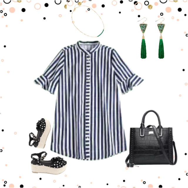 Striped dress amd black sandals