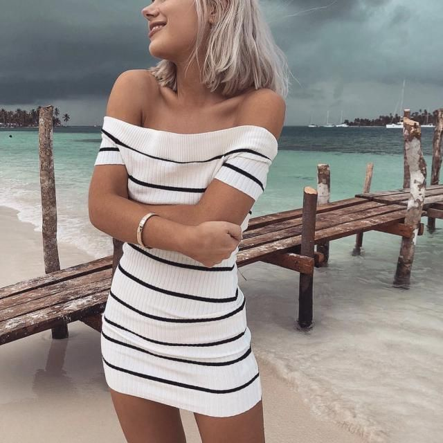 If you're getting ready for a date then try this striped off shoulder dress it's elegant