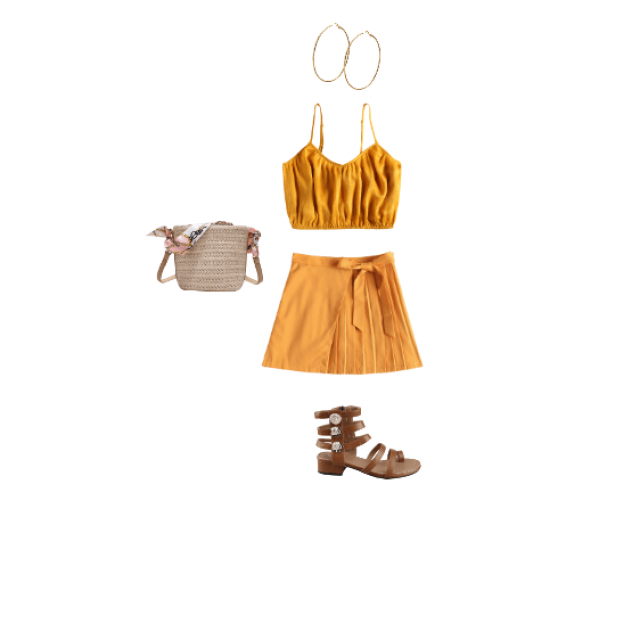 this outfit is a cute but mature yellow outfit, there are some brown sandals and some hoop earing that really tie this …