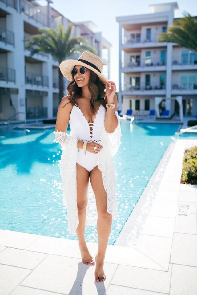 One piece swimsuit in white color for hot summer days ....Buy the best from Zaful