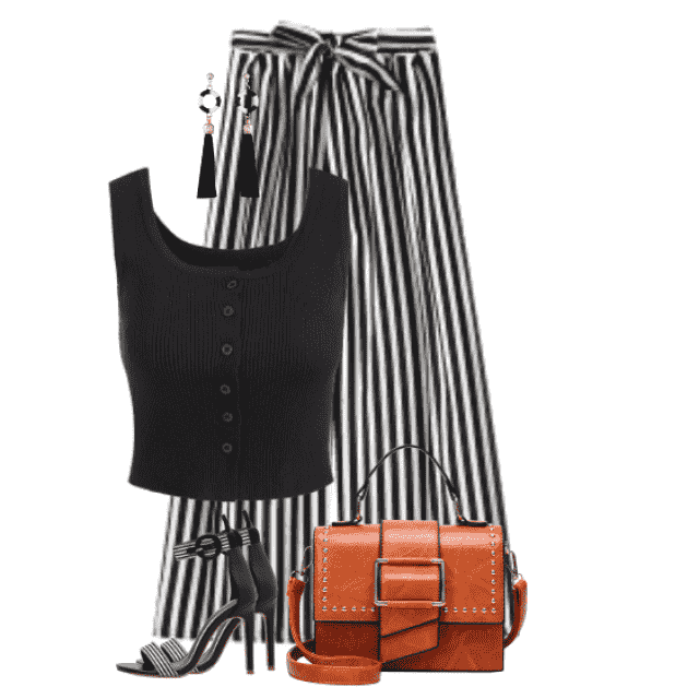 Gorgeous look with striped pants and a sexy black top