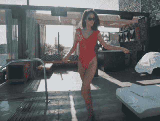 I have found the same swimmsuit in Shay Mitchell's video