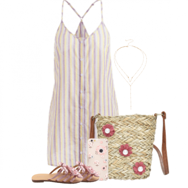 Feminine summercombo with a striped dress in pastel colours
