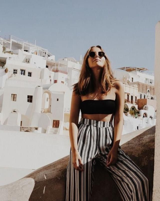Striped long pants and black top