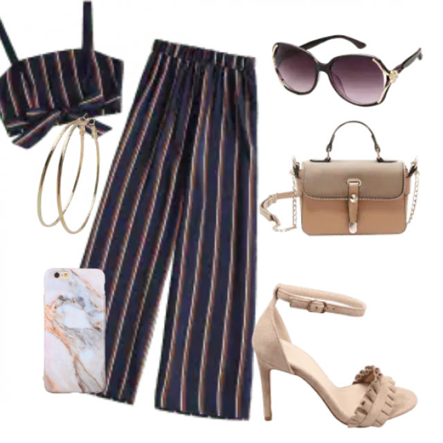 Striped top and pants...modern outfit for going out,party