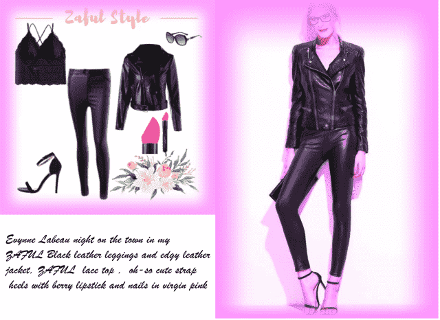 Evynne Labeau wearing edgy Zaful leather jacket over faux leather  pants and cute heels