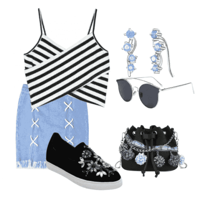 Casual style denim skirt and striped cami top