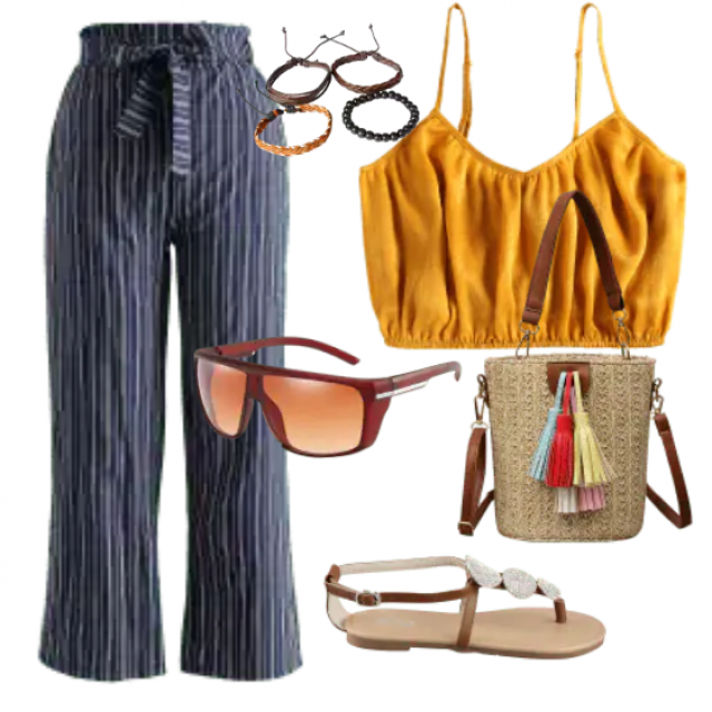 Casual pants and yellow top for relaxed look