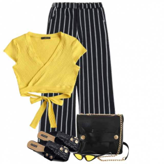 Beautiful and elegant combo - perfect top with a bow in match with the striped pants