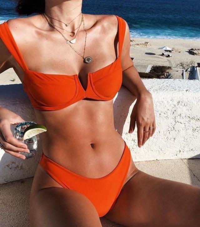 Straps Plunge Thong Bikini Set - Orange