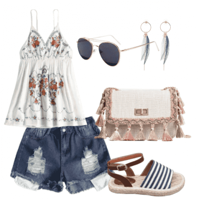 Relaxed look with denim shorts and cute top