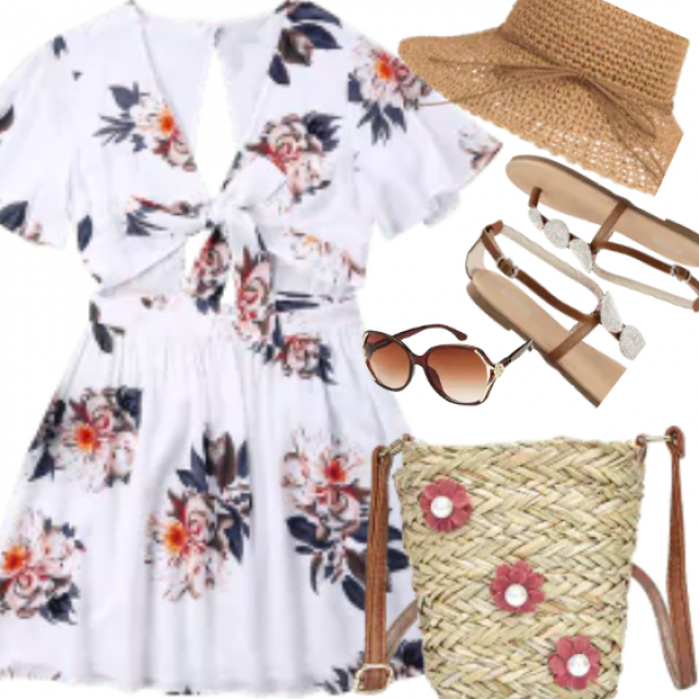 Take it to the shore and more with the Hawaiian skater dress! Vibrant floral print blooms across this breezy dress with…
