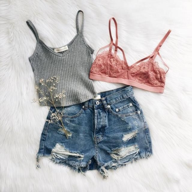 282510af4da67 Fresh Look  flatlay  luxury  clothes  teen  summer  outfit  shorts  bralette   pink  cute