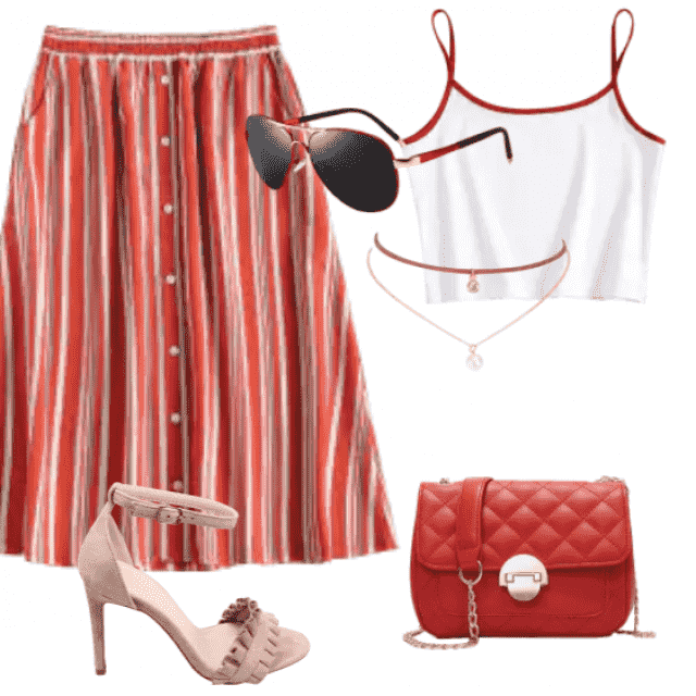 This casual skirt with cami tops for an eye-catching look